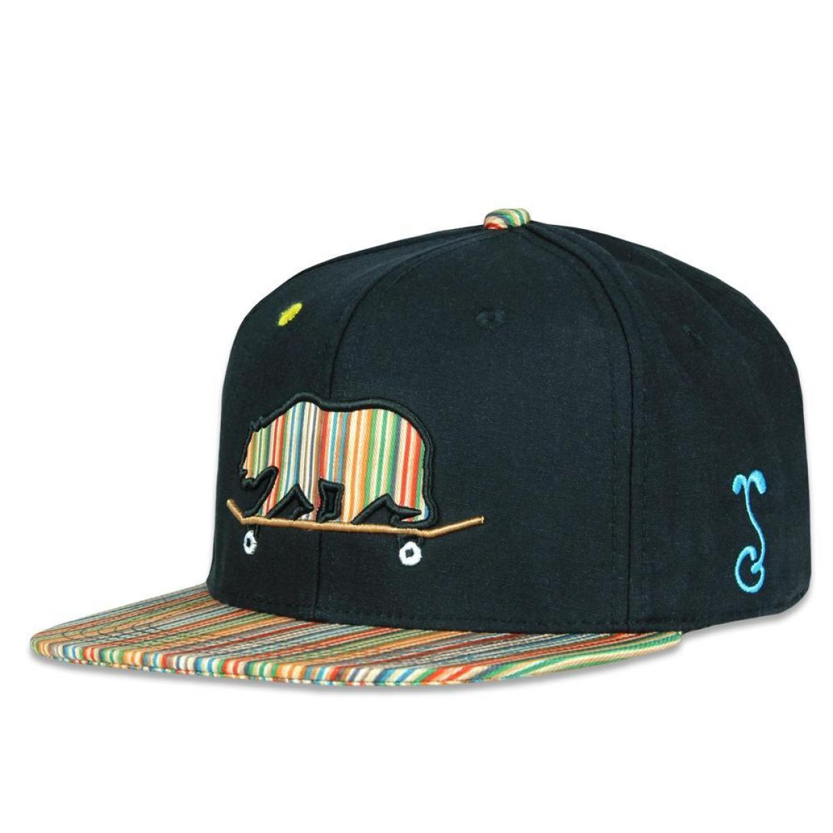 Skateboard Bear Nugs and Bolts Black Hemp Snapback Hat