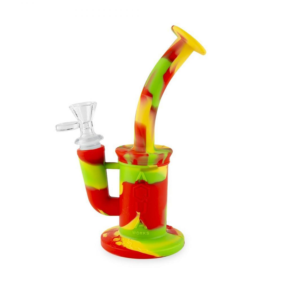 Aqua Silicone N Glass Water Pipe - BUBBLER - Rasta