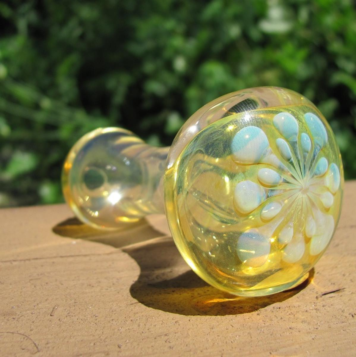 Yellow Fumed Flower Explosion Spoon Pipe