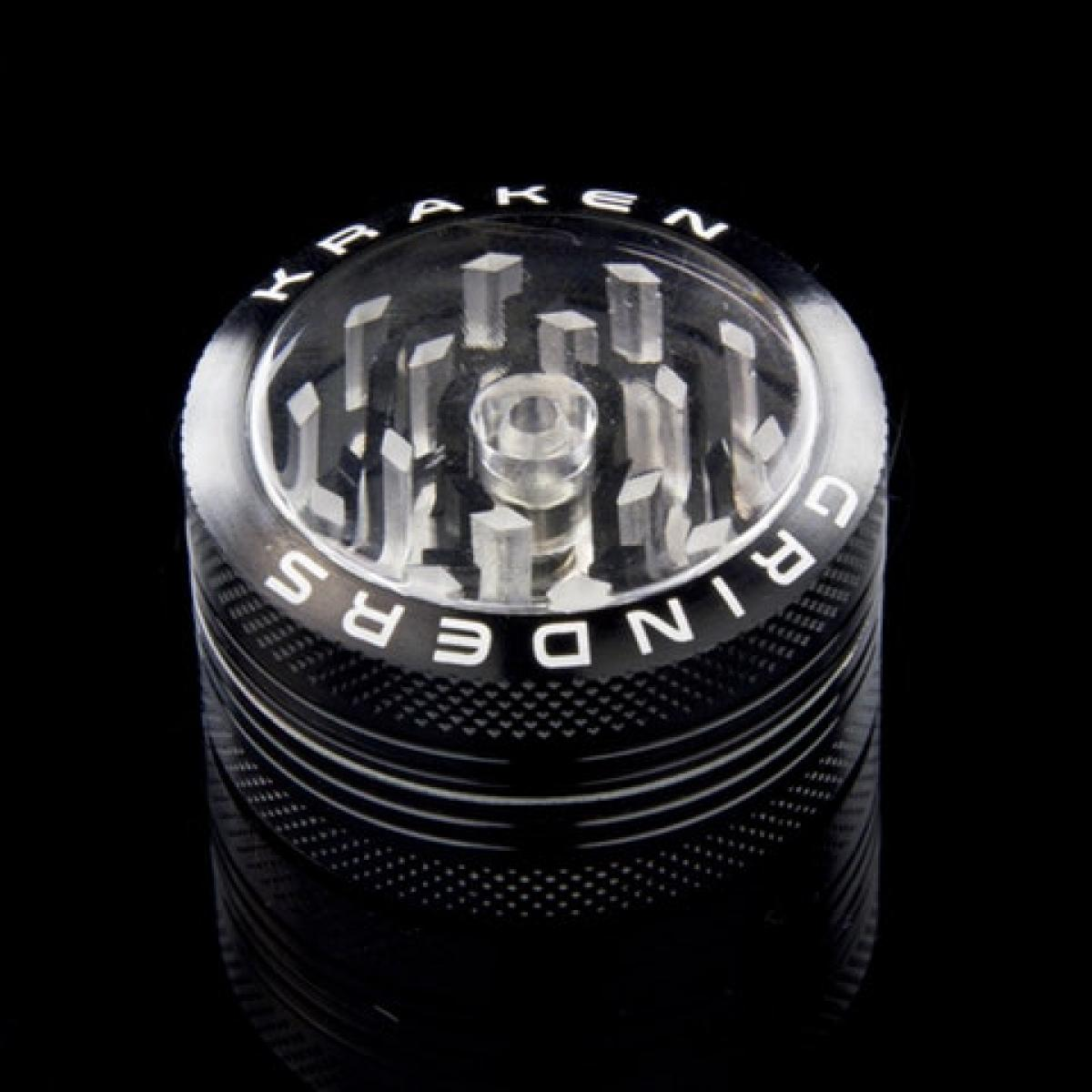 Kraken 1.5 inch 2-part Grinder with Clear Top and Push-up Bottom